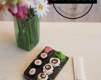 Sushi dinner (1:12 scale miniature polymer clay food)