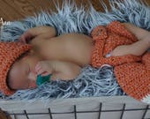 Newborn Crochet Fox Hat and Diaper Cover, Newborn Fox Outfit