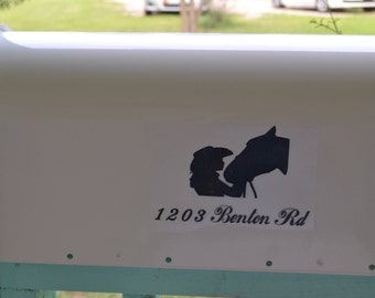 Mailbox Vinyl Decals-Mailbox Decals,Girl and Horse,-Street Address Decal-Personalized Mailbox-Mailbox Stickers-Mailbox Vinyl Decals