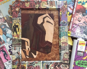 Marquetry of Iron Man, Custom Handmade Pictureframe with Iron Man comic Collage 1994