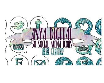 Blue Glitter Icons, Social Media Icons, Social Media Buttons, Green Blue Social Icons, Blog Icons buttons, Website Branding, glitter icons