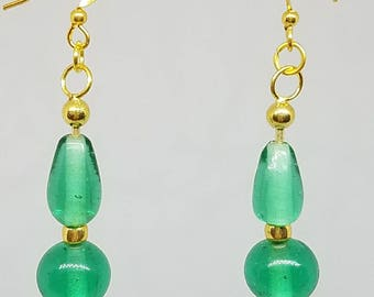 Mint Pale Green Glass Beads Earrings on Dangle Drop Post Gold Wire Hook