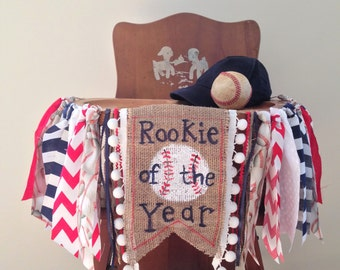 Baseball Birthday High Chair Banner/Rookie of the Year/Cake Smash/Party Decor/Photo Shoot Prop/Boy Sports First Birthday/Fabric Banner