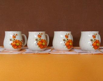 Vintage Orange/Brown Floral Mugs/Japan/1970's/Retro