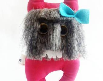 "Furry stuffed Monster ""uglymon"" mon mon hand made in United Kingdom OOAK"