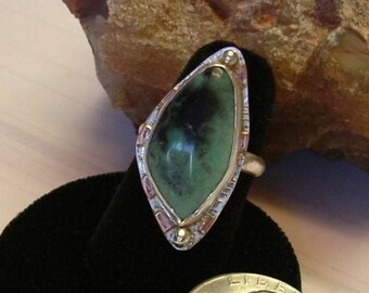 Variquoise Ring Sterling Silver OOAK Large Chunky Variscite Turquoise Mixed Metal Copper Accents Size 8 Statement Ring Green Black 079G