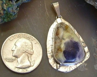Tiffany Stone Pendant Sterling Silver Large Utah Gem Purple Yellow Orange Sporr Mountain Statement Pendant Statement Jewelry 035G