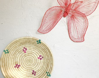 Woven coiled wall basket, wall hanging wicker/straw basket decor
