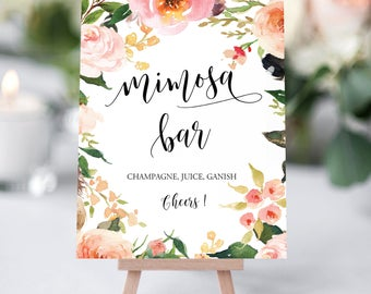Mimosa Bar Sign, Mimosa Sign, Bridal Shower Mimosa Sign, Brunch Mimosa Sign, Mimosa Bar Printable, Floral Mimosa Bar, Mimosa Bar Sign