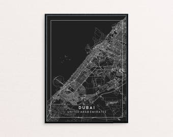 Dubai Black City Map Print, Clean Contemporary poster fit for Ikea frame 24x34 inch, gift art him her, Anniversary personalized travel