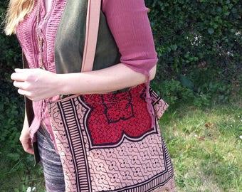 Vintage Cotton Tote Bag Handmade Indian Print Hand Bag Shopping Bag Polka dot Recycled
