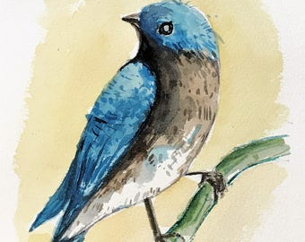 Watercolor Painting, Small art, Original bird art, Blue Bird, Watercolor Bird, Original art, 7x5 art, Art work, One of a kind.