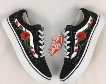 Rose Vans Old skool, rose vans women, womens sneakers, rose embroidered vans, custom vans, canvas vans, unisex vans, rose on vans,