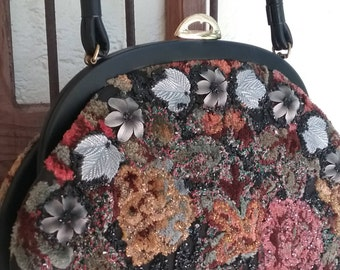 1950's Beaded Tapestry Carpetbag Purse with Floral  Print by Caron.