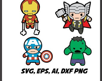 Superhero monogram SVG Captain america, ironman, Thor and Hulk Avengers in svg, eps, ai, dxf, png. INSTANT DOWNLOAD