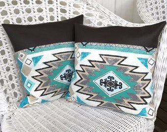 Turquoise Etno Boho Bohemian Pillow with Vegan Leather Details