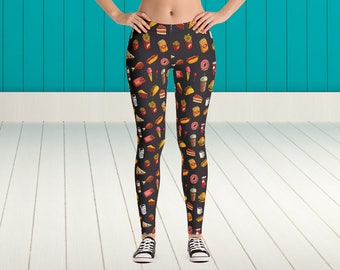Fast Food Madness Leggings Fast Food Funny And Cute Leggings Colorful And Unique Fast Food Leggings Witty Novelty