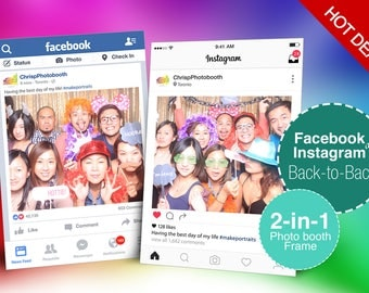 Back to back Facebook and Instagram Photo booth Frame, Double Sided Photo booth Props, Custom Design, 2-in-1, Social Media, Digital Download
