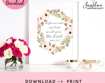 Joshua 24:15, As For Me And My House, Bible Verse Printable, Scripture Print, Christian Wall Art, Scripture Quote, Printable, Printable