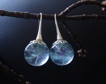 Blue earrings,Delicate dandelions,Dandelion seeds,dandelion in resin,blue flower earrings,resin jewelry,flower in a resin,sphere jewelry