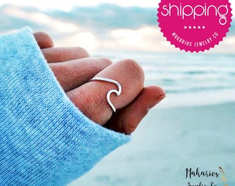 wave ring.wave ring sterling silver.wave.wave ring gold.ocean ring.mountain ring.wave ring rose gold.gold wave ring.beach ring (Wave Ring)
