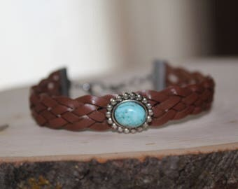 Braided Leather Bracelet, Braided Leather Cuff, Brown Leather Cuff, Turquoise Leather Bracelet, Boho Leather Bracelet, Hippie Bracelet, Boho