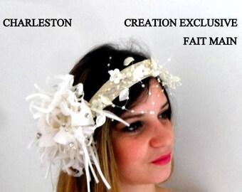 HEADDRESS wedding white and ivory Charleston