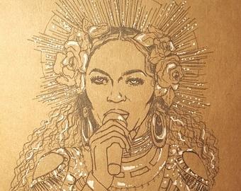 Beyonce Grammys Goddess Original Art Print