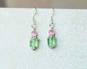 Handmade green and pink earrings
