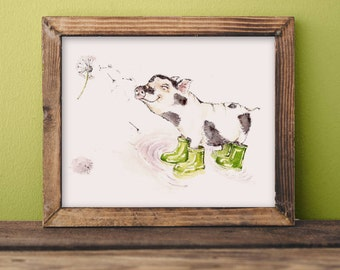 Percy the pig- children's watercolor print
