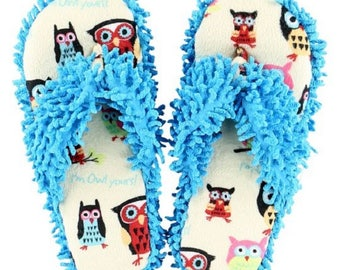 Owl Yours Blue Spa Flip Flop Slippers