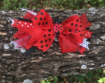 Lady bug bows,Lady bug birthday bows,Lady Bug hair accessories,Lady bug back to school hair accessories,Back to school hair accessories