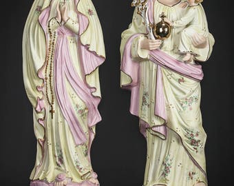"18"" Antique Pair of Virgin Mary and Saint Joseph with Child Jesus Bisque Porcelain Statues 2"