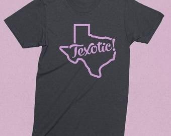 Texas t shirt - vintage Texas - Texotic - heather grey - men's t shirt, women's t shirt, retro style, Austin, Houston, Dallas, Texas Forever