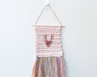 Crochet Wall Hanging / Deer Head / Rainbow / Macrame Woven / Nursery Decor / Children's Bedroom / Wall Art / Textile / Pink / Girl / Glitter