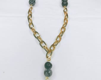 Beautiful chic long gold and marble beads necklace