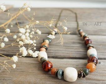 Gemstones Chain Necklace/ handmade jewelry nature gemstones brown gray wooden beads Jasper carnelian agate Indian agate betel nuts