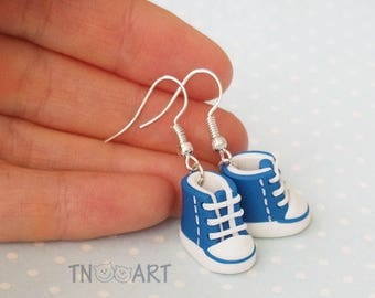 Cute Tiny Sneakers Earrings handmade polymer clay jewelry blue white color miniature