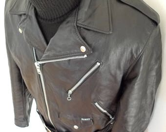 Vintage SCHOTT Nyc Classic Black LEATHER Motorcycle Jacket Sz 46 Lg Brando VTG