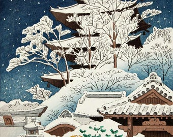 "Japanese Art Print ""Snow at Toji Temple"" by Asano Takeji, woodblock print reproduction, asian art, cultural art, winter, snowfall, pagoda"