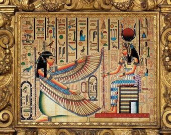 Isis The Protection God U0026 Queen Nefertari Egyptian Wall Art Print On  Special Shining Material 18x24