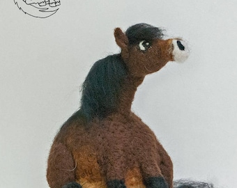 Roly Poly Exmoor Pony - Needle Felted decorative sculpture.