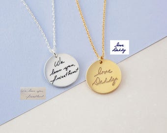 Handwritten Necklace - Actual Handwriting Necklace - Handwritten Jewelry - Signature Disc Necklace - Memorial Handwriting Jewelry