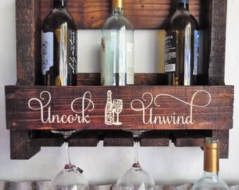 Uncork & Unwind Wine Rack. Rustic Decor. Pallet Wine Rack.