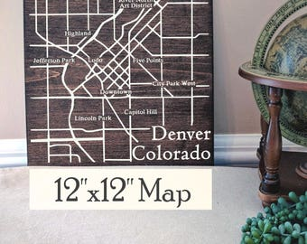 Denver Map, Large Wood Map, Denver City Map, Denver Wall Art, Wood Map, Personalized Map, Custom Map Gift, Custom City Map by Novel Maps