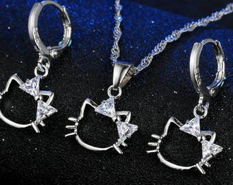 Hello Kitty Rhinestone, Crystal, CZ necklace set, wedding bridal jewelry set costume flower girl, kids girl