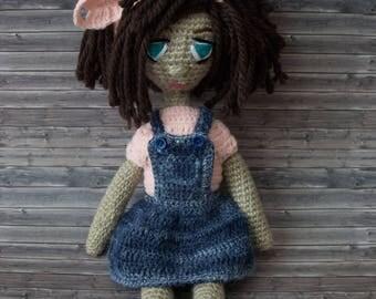 handmade doll, crochet, handmade, unique 35 cm