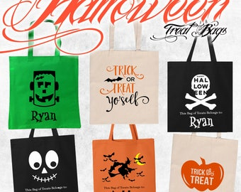 Personalized Halloween Bag | Trick or Treat Bag | Monogrammed Halloween Bag | Halloween Treat Bag | Halloween Tote | Candy Bag | Halloween