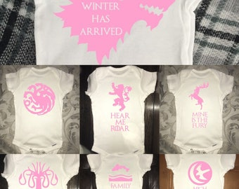 Game Of Thrones Onesie | GOT Onesie | GOT Houses Onesie | Fan Favourite | Baby Onesie |  Baby Clothing