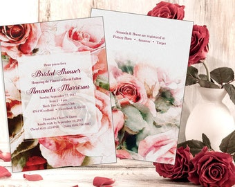Rose Watercolor Bridal Shower, Baby Shower Invitation, Printable Antique Rose (5x7-2 sides) with Thank You - Printable file or Printed Cards